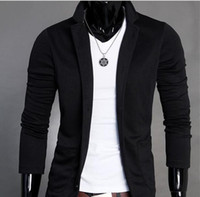 Wholesale Dark Gray Suit Mens - 2017 Mens Slim Blazers Designs Suits for Men One Button Stand-up Collar Korean Jackets for Men Knitted