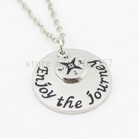"""Wholesale Hot Journey - 2016 Hot ! handstampe Jewelry Inspired Jewelry """"Enjoy The Journey"""" Compass necklace Graduation Necklace Graduation Gift"""