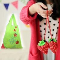 Wholesale Wholesale Beautiful Handbag - New Eco Storage Handbag Reusable Strawberry Foldable Shopping Bags Foldable Eco Storage Handbag Nylon Beautiful Reusable Bag DHL FEDEX FREE
