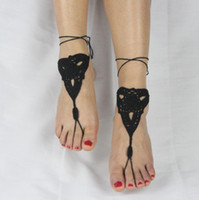 Wholesale Trendy Yoga Wear - Fashion Crochet Barefoot Sandals Beach Pool Wear Toe Ring Anklet Nudeshoes Foot jewelry Victorian Lace Yoga Shoes Bridal Anklet