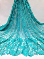 Wholesale Teal Cotton Cord - Teal color African Lace fabric 2017 New Arrival african cord Lace for wedding dresses guipure lace Fabrics High Quality M10483