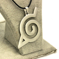 Wholesale Naruto Uzumaki Necklace - Wholesale-High Quality Anime Style Classic Naruto Uzumaki Symbol Hollow Pendant Necklace Silver Plated Rope Leather Necklace Jewelry Gifts