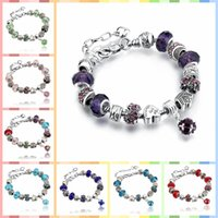 Wholesale Murano Crystal Beads - 11 Colors Fashion 925 Sterling Silver Daisies Murano Glass&Crystal European Charm Beads Fits Charm bracelets Style Bracelets 20+3CM AA02