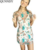 Wholesale Transparent Dressed Womens - Qunndy Womens Vintage Summer Flower Embroidery Round Neck Casual Party Bodycon Sexy transparent temptation Slim Pencil Dresses q170716