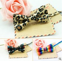 Wholesale Rainbow Bow Tie - Fashion Baby Boys Ties Star Plaid Leopard Children Tie Bow Cute Rainbow Stripe Kids Accessories Party Wear Decorated Tie 9 style 7587