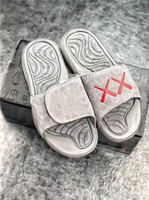 Wholesale Lace Flat Slippers - 2017 Top Real Summer KAWS X Air Retro 4 Slippers Glow In Dark XX Slippers Hydro IV 4s Sandals Mens Sports Casual Slides Slipper size 40-46