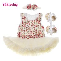 Wholesale Baby Rosette Shoes - Lovely Sleeveless Romper BodySuit Clothes with Rosette Lace Baby Girl Party Dress for Cotton Jumpsuit Headband Shoes 3Pcs Set Princess Z308
