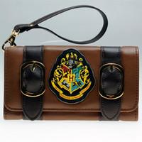 Wholesale Harry Potter Crests - Harry Potter Hogwarts Castle Crest Envelope Satchel Fold Wallet Purse with Tag DFT-1953