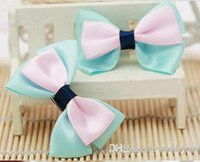 Wholesale Kid Butterfly Barrettes - Two color children kids baby Butterflies girls hair accessories hairpins Gifts barrettes headwear bow Retail Boutique 2pcs L65