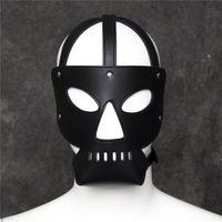 Wholesale Top Slave Collars - Top Grade Fetish PU Leather Dog Mask Head Harness Sex Slave Collar Leash Mouth Gag Bondage Hood Blindfold Adult Games Sex Toys for Couples