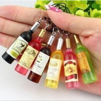 Wholesale Charms For Cell Phones Wholesalers - Small wine bottle wine cell phone pendant key chain key ring beer bottle creative Korea jewelry gifts gifts