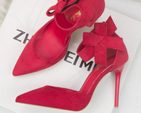 fildişi saten düğün topuklu toptan satış-Kadın Ayakkabıları Kırmızı Deri Alt İvory Ayakabı Yüksek Topuklar Yuvarlak Ayak Parmak Ayak Bilek Kayışı Saten Pompalar Kadın Düğün Gelin Ayakkabıları Balo Ayakkabıları