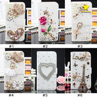 Wholesale Iphone Case 3d Crystals - For iPhone 8 Plus iPhone X Bling Csae Caver Case Crystal Leather Flip 3D Rhinestone Diamond Stand Wallet Case