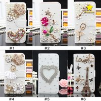 Bling Carteras Iphone Baratos-Para iPhone 8 Plus iPhone X Bling Csae Caver Funda Crystal Leather Flip 3D Rhinestone Diamond Stand Wallet Case