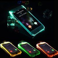 Wholesale iphone flash skin - TPU+PC LED Flash Light Up Case Remind Incoming Call Cover for iPhone 7 SE 6 6S Plus Samsung S7 S6 Edge Note 5 Clear Transparent Skin