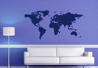 Wholesale large world poster - DT96 World Map Vinyl Wall Stickers Bedroom Decorative Poster Removable Adhesive Vinyl Map Wall Decal Free Shipping