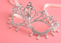 Wholesale Handmade Masquerade Masks - Handmade Clear Crystal Eye Mask Rhinestone Royal Venetian Masquerade Wedding Bridal Prom Party Masks ball Silver Metal eyemask favors
