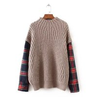 Wholesale Turtleneck Splicing - Fashion Spliced Women Sweater 2017 Autumn and Winter New Half Turtleneck Knitting Loose Sweater for Women Plaid Sleeve Pullover
