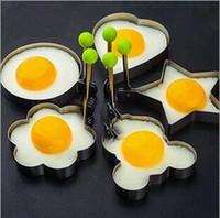 coração, formado, ovo, fritar, anéis venda por atacado-Venda quente de aço Inoxidável Bonito Em Forma de Moldes De Ovo Frito Pancake Mold 5 Estilo Em Forma de Coração Ferramenta Da Cozinha