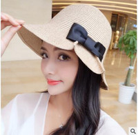 Wholesale NEW Folding bowknot for women sun hat sunhat beach hat summer outdoor hat many colors EMS SHIP