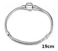 серебряная змея оптовых-3 мм змея цепи посеребренные Mix порядка подходят DIY Европейский бисер браслет цепи Серебряная змея браслет 6 дюймов-9 дюймов