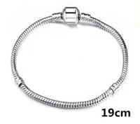 sipariş gümüş yılan toptan satış-3mm yılan zincir Gümüş kaplama Mix Sipariş Fit DIY Avrupa Boncuk Bilezik Zincir Gümüş Yılan Bilezik 6 inç-9 inç