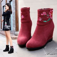 Wholesale Chinese Boots Flowers - Since 2017 with New Chinese wind embroidered shoes wedges side zippers knights of warm boots