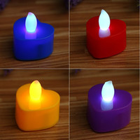 Wholesale romantic love light - Electronic Candle Colorful Love Heart Shape LED Lights Decor Gift Night Light Romantic Propose Birthday Wedding Supplies 0 55ll F R