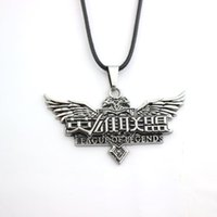 Wholesale League Legends Necklace - High Quality 3D Game LOL Logo Jewelry League Legends Banner Rope Leather Necklace Angel's Wings For Women And Men Fans Best Gift