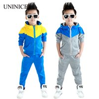 Wholesale Kids Korean Tracksuit - Wholesale- Clothes boys 2016 new arrival baby boys hoodied coats and jackets +pants sets korean fashion clothing sports suit kids tracksuit