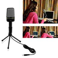 Wholesale Karaoke Laptop Microphone - ITSYH Wired Microphone with Tripod 3.5mm Condenser Professional Condenser microphones for computer laptop music Recorder PS3 PS4 TW-698