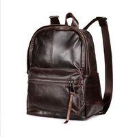 Wholesale Bag Mens Cowhide - New Mens Womens Backpacks Oil Wax Cowhide Genuine Leather Backpacks Vintage Casual double shoulder bag free shipping