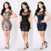 Wholesale Short Gold Glitter Dress - 2017 Summer Sexy Woman O-Neck Glod Glitter Sequin Mesh Patchwork Short Geometric Sleeveless High Waist Bandage Mini Club Party Dresses