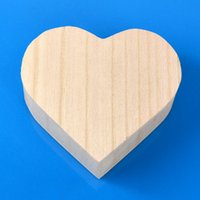Wholesale Wood Shaped Jewelry - Heart Shape Wooden Box Boutique Small Wood Jewelry Packing Boxes Portable Makeup Storage Case For Love Wedding Gift Personalized 5af F