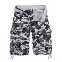 Wholesale Blue Gray Camo Pants - New Arrival 2016 Fashion Plaid Beach Shorts Mens Casual Camo Camouflage Shorts Military Short Pants Male Cargo Overalls 50
