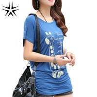 Wholesale Character L - Wholesale- Character Printed Women T-shirt Lady Fashion Cotton Tees Large Size L-4XL 2016 Summer Multicolor Choice Women Loose Tops