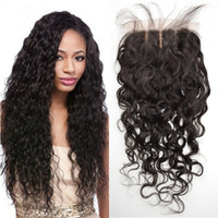 Wholesale hidden knots closure for sale - Group buy 100 Human Hair Silk Base Closure with Hidden Knots Indian Virgin Hair Middle Free Part Water Wave Top Closures FDSHINE