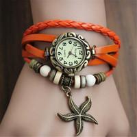 vintage bracelet watch deri kızlar toptan satış-Moda Vintage Viktorya Tarzı Denizyıldızı Deri Izle Saat Bayanlar Bayanlar için Hakiki Deri Manşet Bilezik Izle Kadınlar