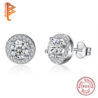 Wholesale Earring Cz Round - BELAWANG New Item Vintage Elegance Stud Earrings with Clear CZ 925 Sterling Silver Round Austria Crystal Earrings Fashion Women Jewelry Gift