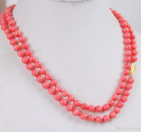 "Wholesale Pink Coral Beaded Necklace - long 36"" 6mm Japan Pink Coral Round Beads Gemstones 14K GP Clasp Necklace AAA"