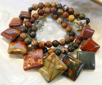 """Wholesale Natural Jasper Beads - Natural 6-20mm Multicolor Picasso Jasper Square Beads Necklace 18"""""""