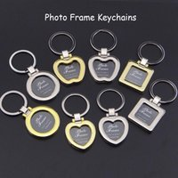 Wholesale keychain picture frames wholesale online - Mini Pendant Design Photo Frame Keychains DIY Insert Photo Picture Frame Keychain Metal Zinc Alloy Keyring Key Ring Lovers Gift