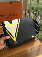 Wholesale Leather Envelopes For Men - New Genuine Leather Bags Crossbody Messenger Bag Leather Office Bags for Men Document Briefcase Travel Bags