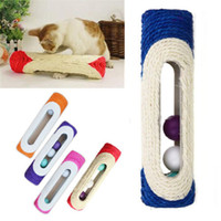 Random Color 1pcs Pet Cat Kitten Kitty Toy Rolling Sisal Scratching Toys Scratch Post Trapped Ball Training pour Fournitures de chat
