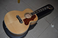 Wholesale Tiger Veneer - Factory custom shop 2015 New Solid Veneer+ Back   Side Tiger stripe folk acoustic guitar j200 model Burlywood acoustic guitar with case