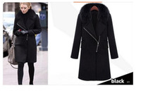 Wholesale Best Slimming Dresses - best selling new winter coat women winter dress real rabbit fur collar long brand wool coat