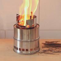 ingrosso attrezzatura da cucina esterna per camper-Fornello da campeggio in acciaio inox portatile da cucina in acciaio inox per barbecue. Stufa a legna per campeggio