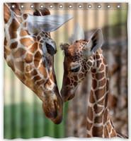 "giraffe fabrics Canada - Fashion Custom Lovely Giraffe Waterproof Polyester Fabric Bathroom Decor Shower Curtain 66"" x 72"""
