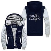 Wholesale Warm Men Zip Up Hoodie - Wholesale- Winter Is Coming Stark Super Warm Thicken Fleece Zip Up Hoodie Men's Coat USA size plus size