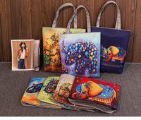 Wholesale cartoons ladies handbag shopping for sale - Cartoon Elephant Print Casual Tote Lady Canvas Beach Bag Female Handbag Large Capacity Daily Use Women Single Shoulder Shopping Bags